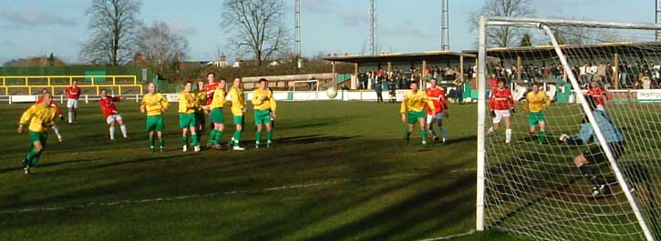 Miller free kick at Hitchin